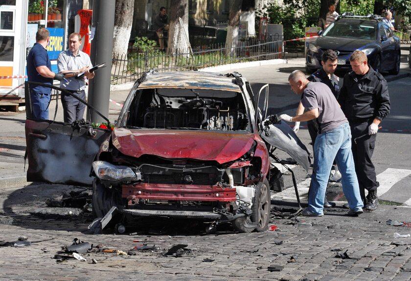 Samochód, w którym zginął dziennikarz