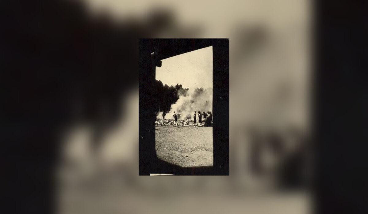 Jedno z pierwszych zdjęć zrobionych z wnętrza komory gazowej krematorium V przez Alberto Errerę.