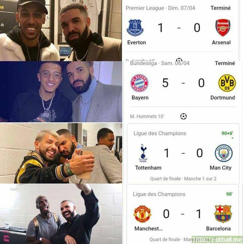 Krążące w sieci zestawienie selfie Drake'a i następujących po nich porażek