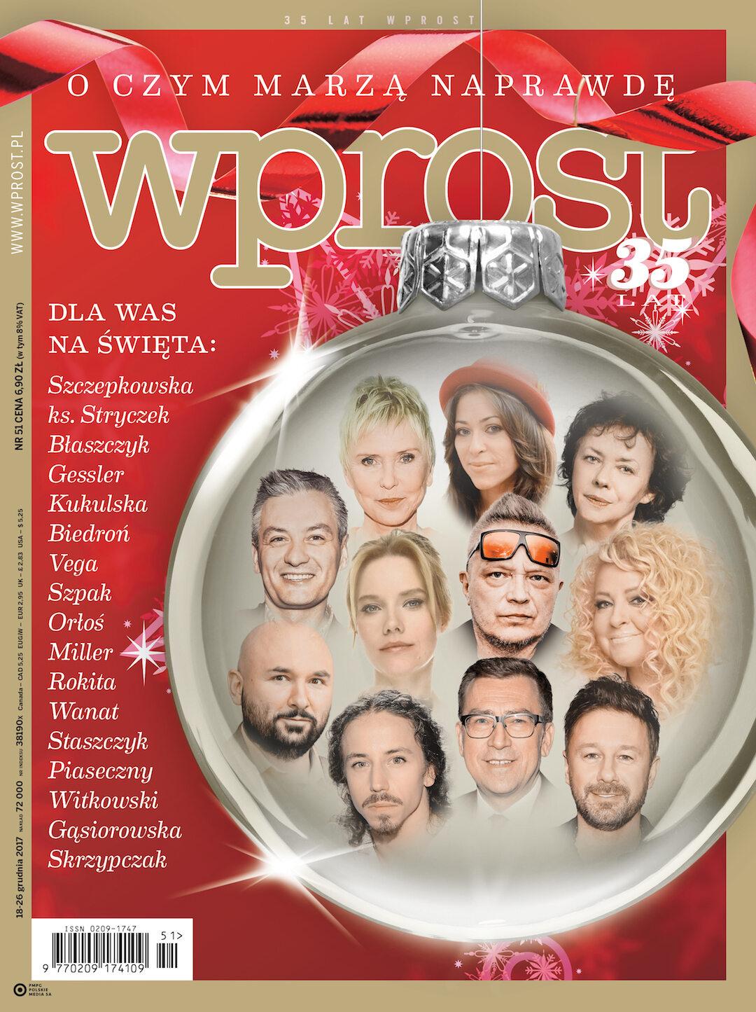 Okładka tygodnika Wprost nr 51/2017 (1816)