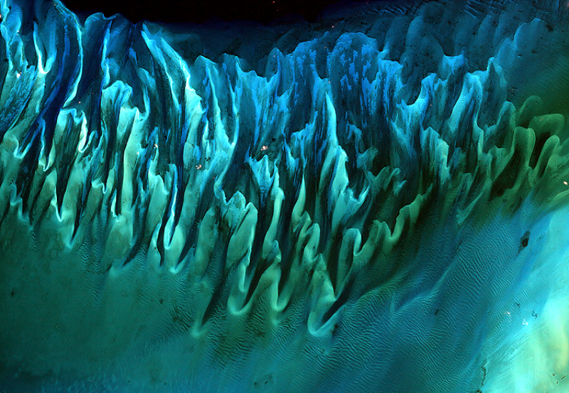 Zdjęcie satelitarne piasków i wodorostów na Bahamach Pływy i prądy oceaniczne na Bahamach rzeźbiły piasek i wodorosty w te wielokolorowe, karbowane wzory w podobny sposób, jak wiatry rzeźbią rozległe wydmy na Saharze.