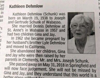 """Taki nekrolog napisała rodzina zmarłej. """"Witaj w piekle"""""""
