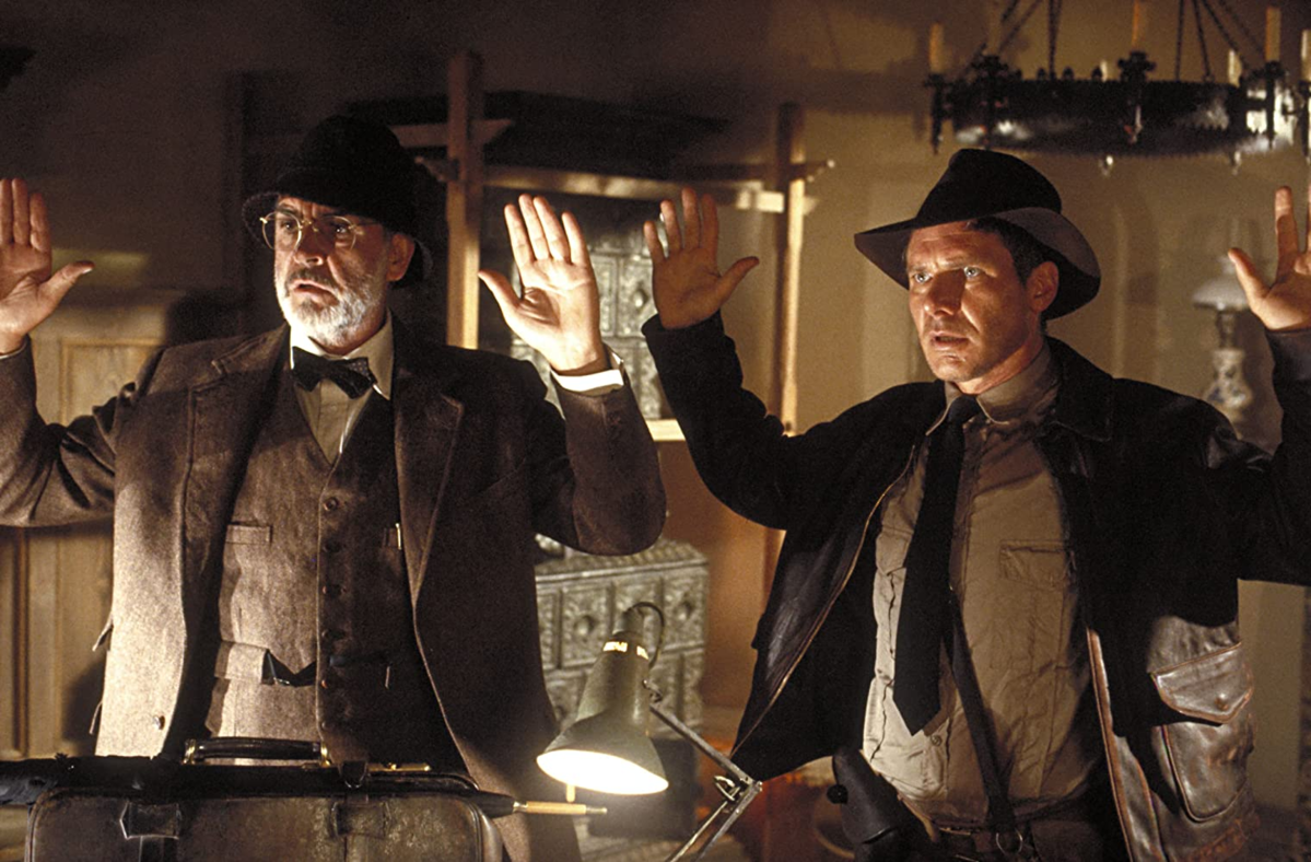 "Sean Connery i Harrison Ford w filmie ""Indiana Jones i ostatnia krucjata"" (1989)"