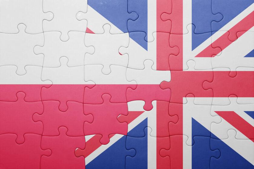 Flagi Polski i Wielkiej Brytanii